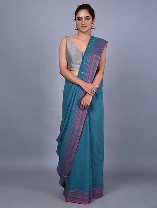 Blue-Pink Handwoven Natural Dyed Cotton Saree