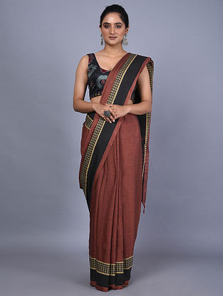 Maroon Handwoven Natural Dyed Cotton Saree