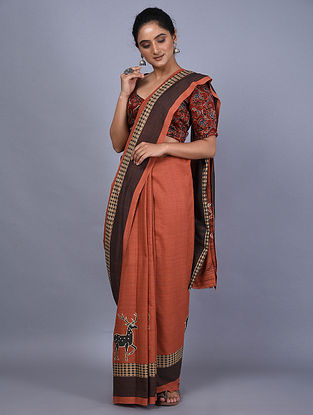 Red Handwoven Natural Dyed Cotton Saree