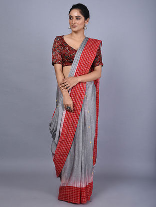 Grey-Red Handwoven Natural Dyed Cotton Saree