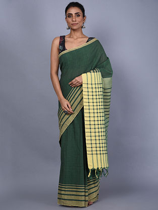Green-Yellow Handwoven Natural Dyed Cotton Saree
