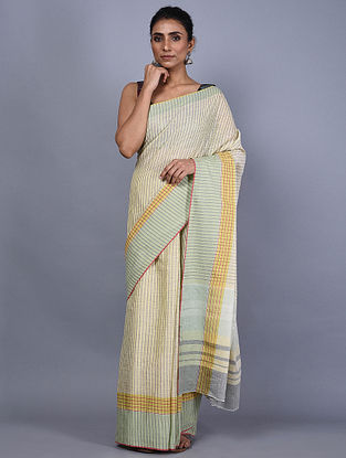 Ivory Handwoven Natural Dyed Linen Saree