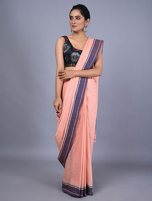 Pink-Purple Handwoven Natural Dyed Linen Saree