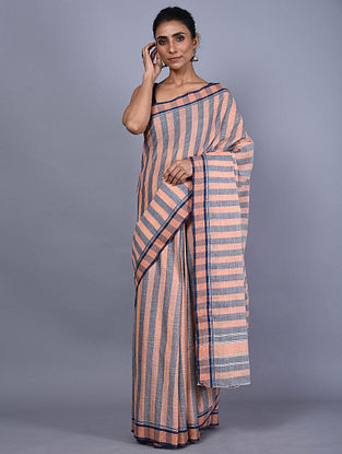 Peach-Blue Handwoven Natural Dyed Cotton Saree