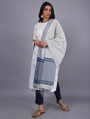 Ivory-Blue Handwoven Natural Dyed Khadi Cotton Dupatta