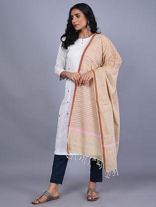 Beige Handwoven Natural Dyed Khadi Cotton Dupatta