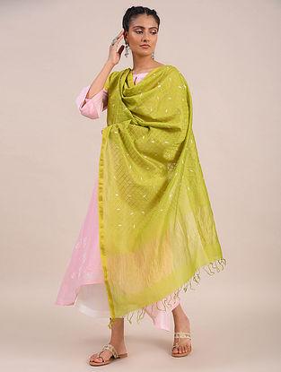 Green Embroidered Silk Cotton Dupatta with Zari