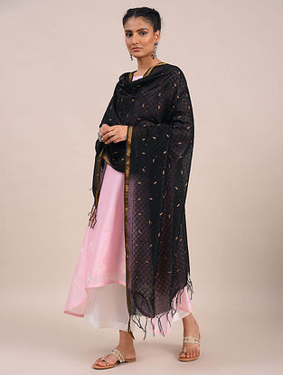 Black Embroidered Silk Cotton Dupatta with Zari