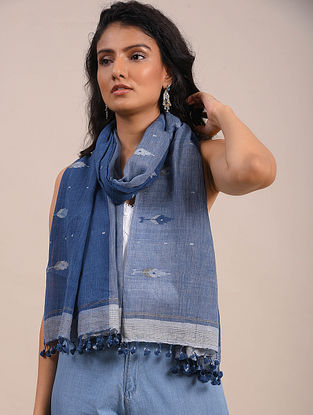 Blue-Grey Jamdani Cotton Scarf