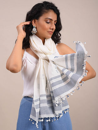 Ivory-Blue Jamdani Cotton Scarf