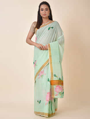 Green-Pink Printed Cotton Saree