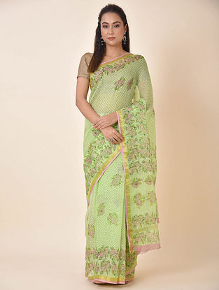 Green-Pink Printed Kota Cotton Saree