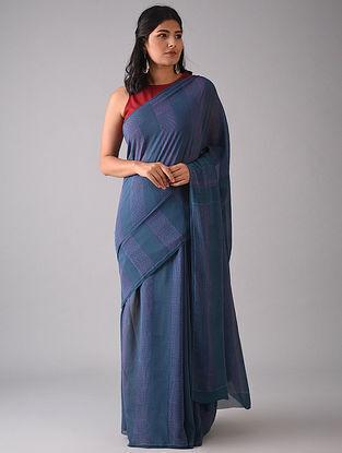 Navy Blue Block Printed Georgette Silk Saree