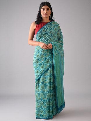 Turquoise Block Printed Georgette Silk Saree