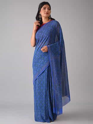 Blue Block Printed Georgette Silk Saree