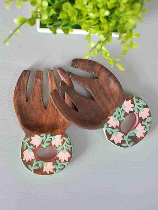 Botanical Hand-painted Mango Wood Salad Mixers (Set of 2) (12.8cm x 7.8cm)