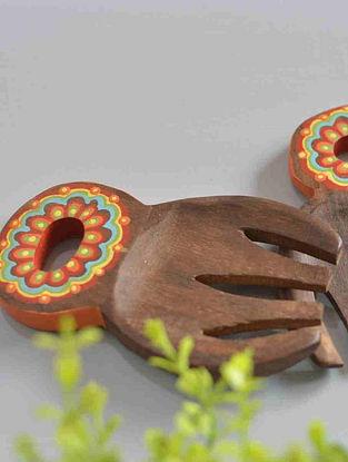 Floral Hand-painted Mango Wood Salad Mixers (Set of 2) (12.8cm x 7.8cm)