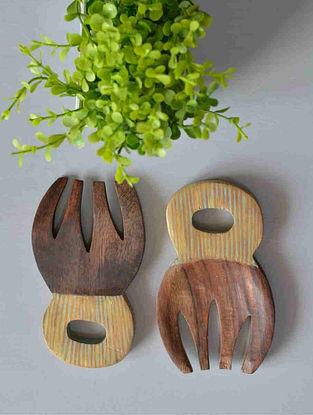 Antiqued Geometrical Balance Hand-painted Mango Wood Salad Tossers (Set of 2) (12.8cm x 7.8cm)