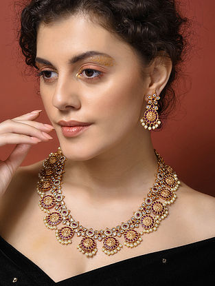 Pink Gold Plated Handcrafted Necklace And Earrings With Pearls