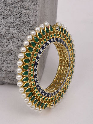 Green Gold Plated Enameled Bangle With Pearls