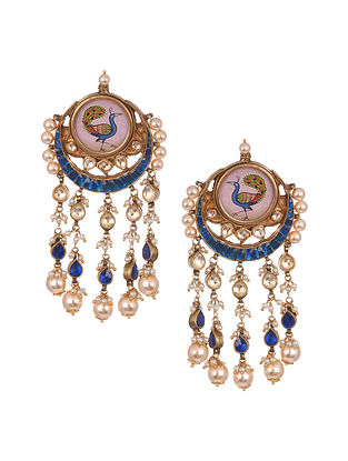 Blue Pink Gold Plated Kundan Enameled Earrings With Pearls