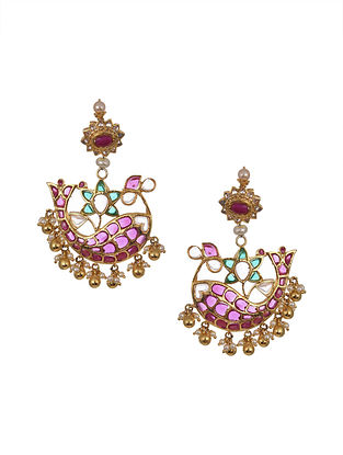 Pink Green Gold Plated Handcrafted Earrings