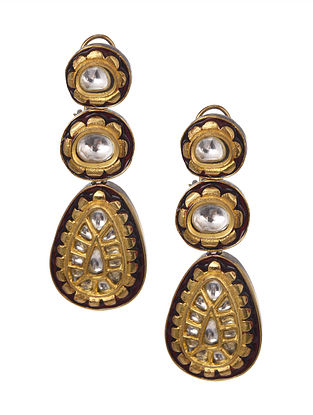 Maroon Gold Plated Kundan Enameled Earrings
