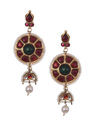 Maroon Green Gold Plated Handcrafted Earrings With Pearls