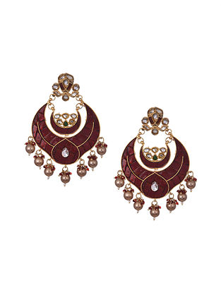 Maroon Gold Plated Handcrafted Earrings
