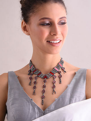 Red Glass Tribal Silver Necklace