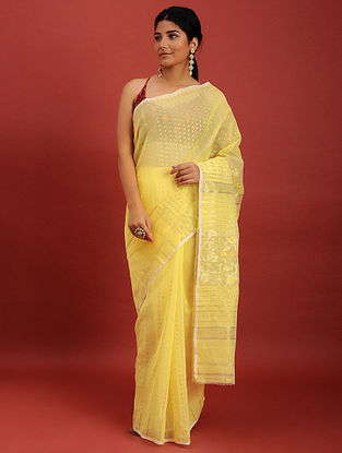 Yellow Cotton Jamdani Saree