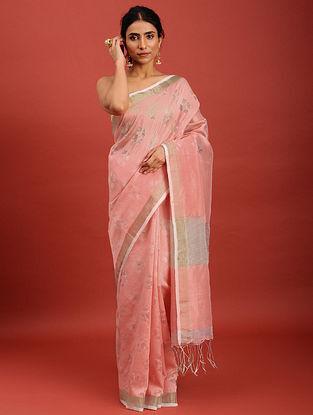 Pink Handwoven Jamdani Muslin Saree