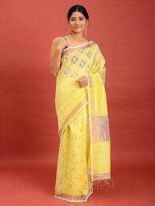 Yellow Handwoven Jamdani Muslin Saree