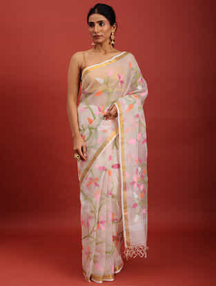 White-Pink Handwoven Jamdani Muslin Saree