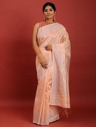 Peach Handwoven Jamdani Muslin Saree