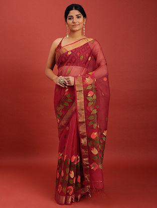 Red Handwoven Jamdani Muslin Saree