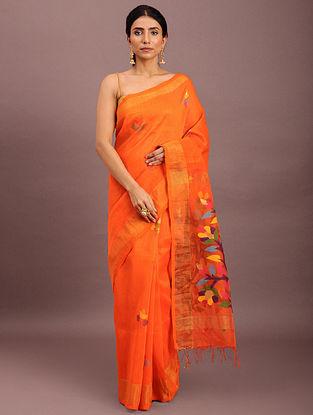 Orange Handwoven Jamdani Muslin Saree