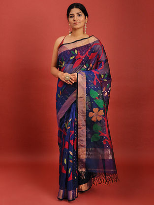 Blue Handwoven Jamdani Muslin Saree