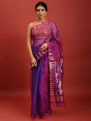 Purple Handwoven Jamdani Muslin Saree