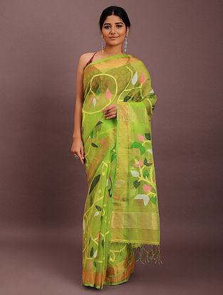 Green-Pink Handwoven Jamdani Muslin Saree