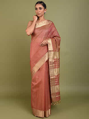 Pink Handwoven Maheshwari Silk Cotton Saree with Zari
