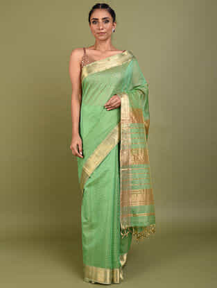 Green Handwoven Maheshwari Silk Cotton Saree with Zari
