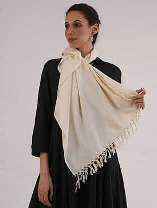 Ivory Handwoven Cotton Stole