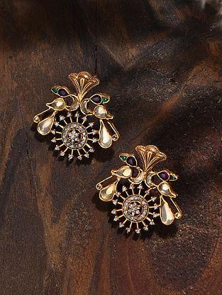 Maroon Gold Tone Kundan Silver Earrings