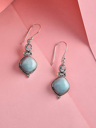 Larimar and Blue Topaz Silver Earrings