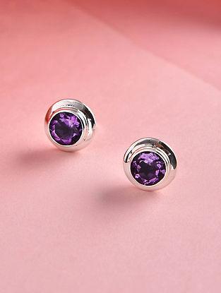 Amethyst Silver Stud Earrings