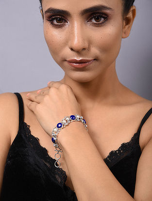 Lapis Lazuli and Freshwater Pearl Silver Bracelet