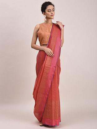 Red-Pink Kota Cotton Saree with Zari