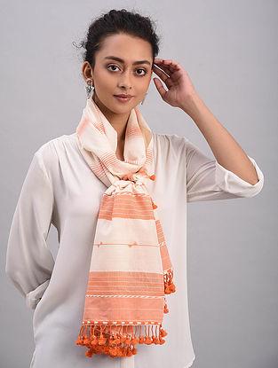 Ivory-Orange Bhujodi Cotton Tussar Silk Stole