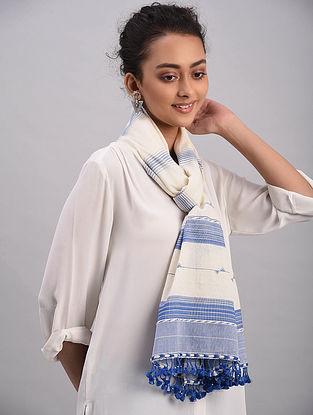 White-Blue Bhujodi Cotton Tussar Silk Stole